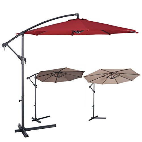 Giantex-10-Hanging-Umbrella-Patio-Sun-Shade-Offset-Outdoor-Market-WT-Cross-Base-0