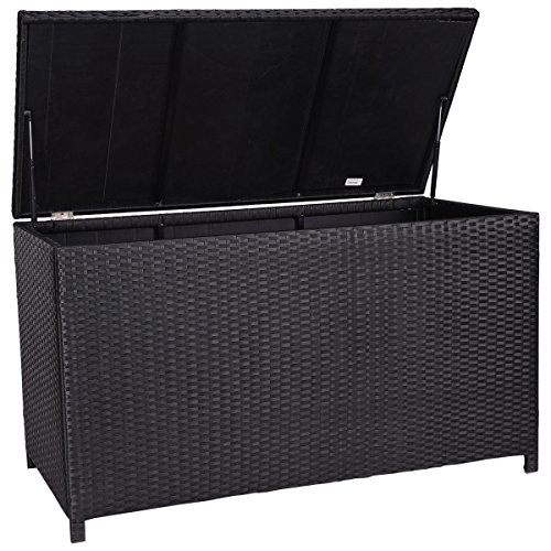 Giantex 47 Black Outdoor Wicker Deck Cushion Storage Box Furniture Patio Garden Farm Garden
