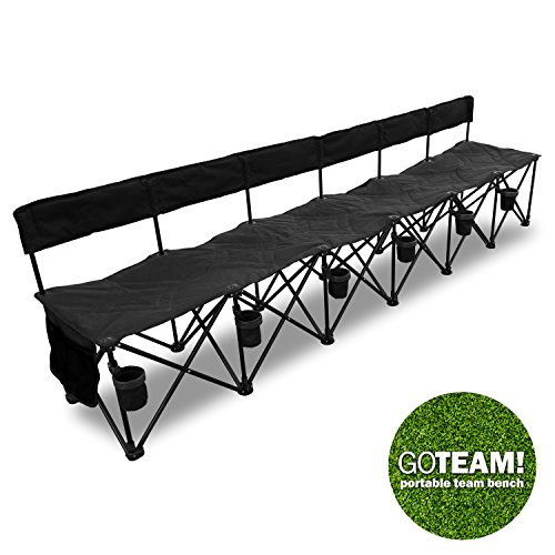 Goteam Pro 6 Seat Portable Folding Team Bench Black Farm Garden Superstore