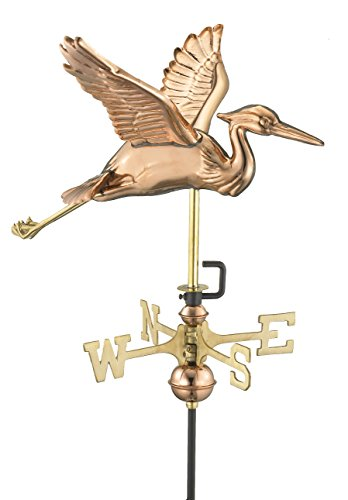 Good-Directions-8805PR-Blue-Heron-Cottage-Weathervane-Polished-Copper-with-Roof-Mount-0
