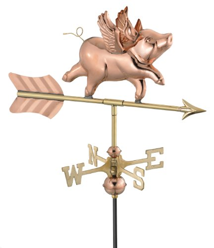 Good-Directions-8840PG-Flying-Pig-Garden-Weathervane-Polished-Copper-with-Garden-Pole-0