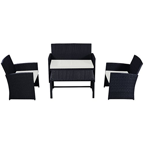 Goplus-4-PC-Rattan-Patio-Furniture-Set-Black-Wicker-Garden-Lawn-Sofa-Cushioned-Seat-0-0