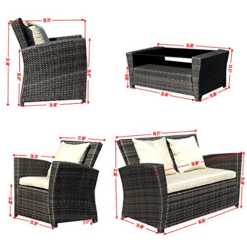 Goplus-4-PCS-Brown-Wicker-Cushioned-Rattan-Patio-Set-Garden-Lawn-Sofa-Furniture-Seat-0-1