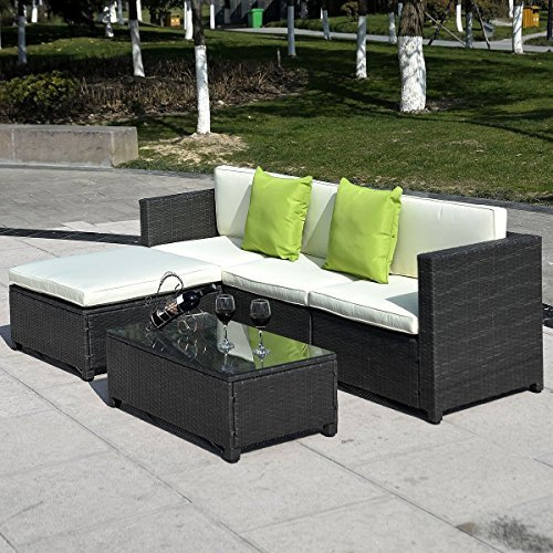 Goplus 174 5pc Rattan Wicker Sofa Set Cushioned Sectional