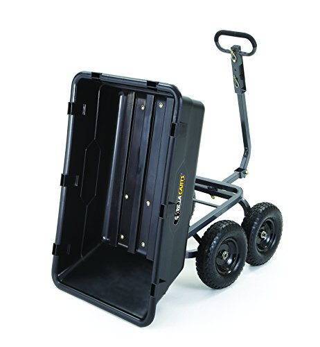 Gorilla-Carts-GOR6PS-Heavy-Duty-Poly-Yard-Dump-Cart-with-2-In-1-Convertible-Handle-1200-Pound-Capacity-Black-0-1