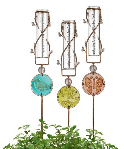 Grasslands-Road-Glass-Disk-Rain-Gauge-Assortment-Bird-Tree-and-Butterfly-29-Inch-3-Pack-0