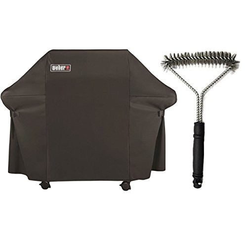 Grill-Bundle-Includes-1-Weber-Grill-Cover-with-Storage-Bag-for-Genesis-Gas-Grills-and-1-12-Inch-3-Sided-Grill-Brush-0