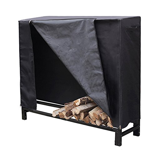 HIO-Firewood-Cover-Log-Wood-Storage-Rack-Cover-Fireplace-Accessories-Black-0