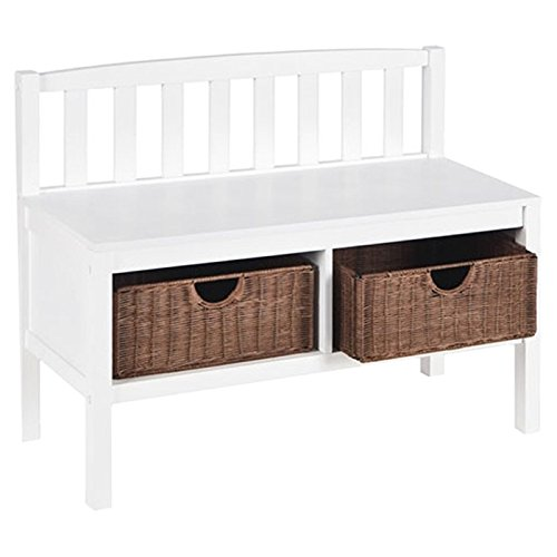 Hampton Wooden Seat Storage Bench With Rattan Baskets And