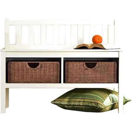 Hampton-Wooden-Seat-Storage-Bench-with-Rattan-Baskets-and-Back-Great-Entryway-Hallway-Furniture-This-Basket-Organizer-Foyer-Chest-Is-White-and-Has-2-Storage-Compartments-and-2-Cubby-Storage-Baskets-In-0