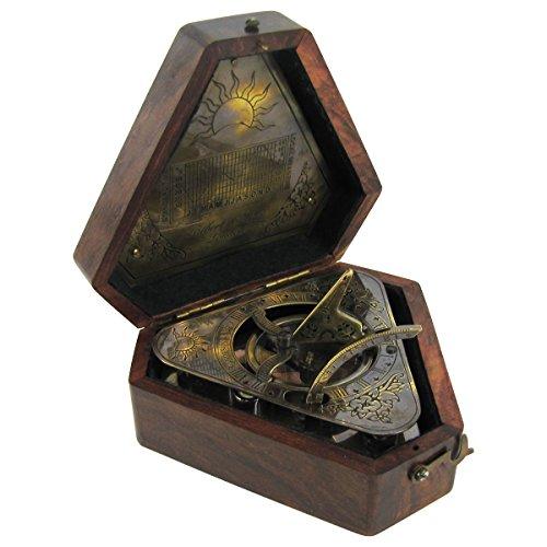Heavy-Brass-Maritime-Sundial-Navigational-Compass-w-Box-0
