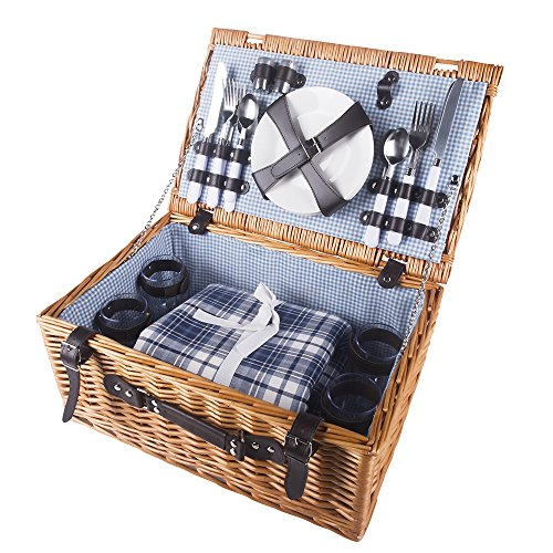 HiCollie-4-Person-Wicker-Picnic-Basket-Hamper-Set-with-Flatware-Plates-and-Wine-Glasses-Includes-Blue-Checked-Pattern-Lining-and-FREE-Picnic-Blanket-0