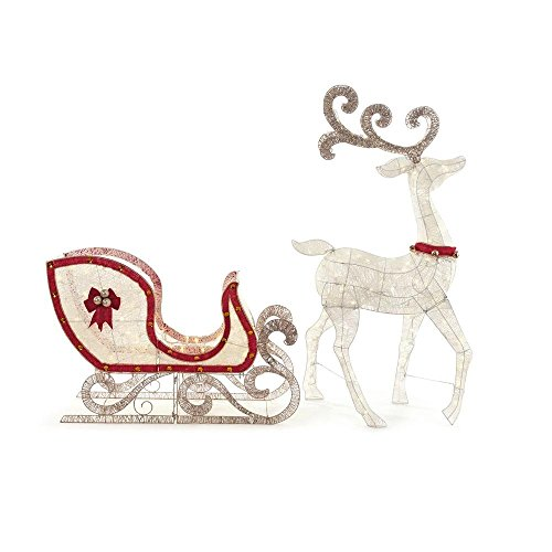 Home-Accents-Holiday-Indooroutdoo-65-in-LED-Lighted-White-Deer-and-46-in-LED-Lighted-Sleigh-0