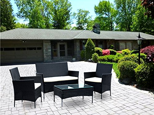 IDS-Home-Compact-4-PC-OutdoorIndoor-Rattan-Patio-Furniture-Set-Black-Wicker-Garden-Lawn-White-Cushioned-Sofa-Seat-Coffee-Table-0-0
