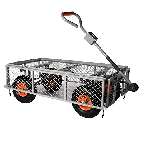 Garden Utility Cart With Wheels : Ivation garden cart steel mesh convertible flatbed