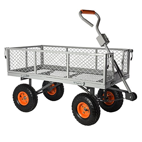 Ivation Garden Cart Steel Mesh Convertible Flatbed Utility
