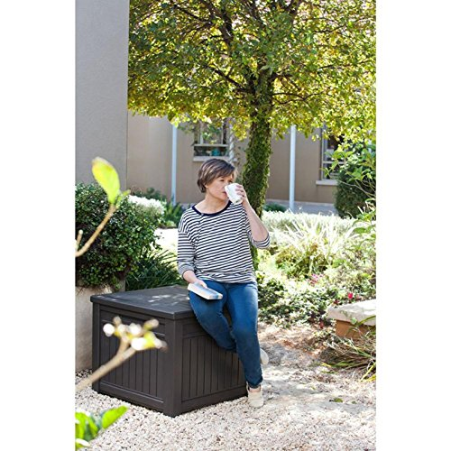 Keter Cube Wood Look 55 Gallon All Weather Garden Patio Storage Table Or  Bench | Farm U0026 Garden Superstore