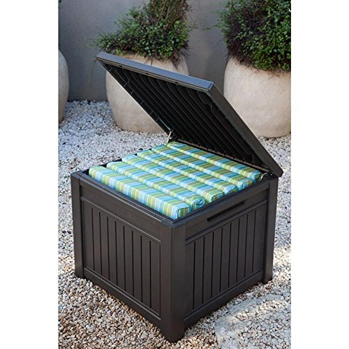 ... Patio Storage Table Or Bench.  Keter Cube Wood Look 55 Gallon All Weather