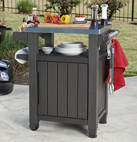 Keter unity indoor outdoor bbq entertainment storage table for Grill storage ideas