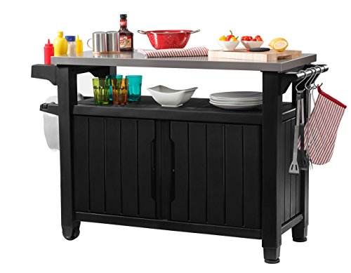 keter unity xl indoor outdoor entertainment bbq storage table prep station serving cart with. Black Bedroom Furniture Sets. Home Design Ideas