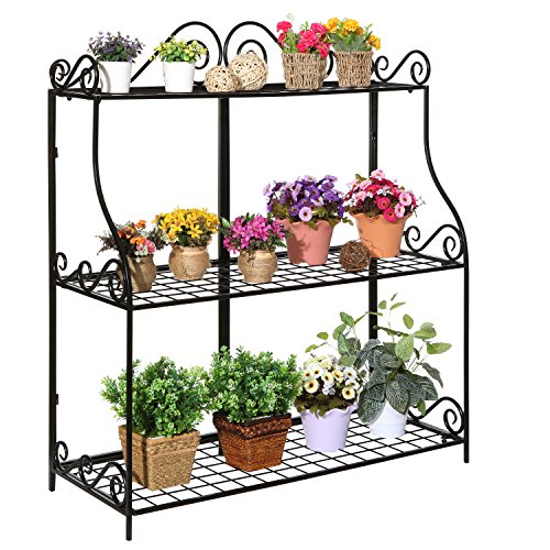 Large-Freestanding-Black-Metal-Scrollwork-3-Tier-Plant-Stand-Bathroom-Kitchen-Storage-Organizer-Shelf-Rack-0