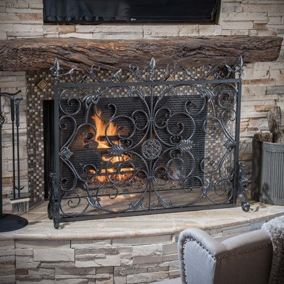 Laurentia-Panel-Iron-Fireplace-Screen-Finish-Black-0