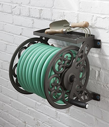 Liberty-Garden-No708-Wall-Mount-Steel-Decorative-Hose-Reel-Bronze-0-0
