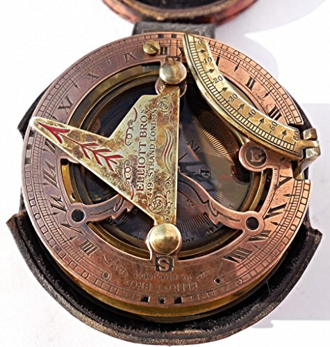Maritime-Antiques-Nautical-Brass-Box-Sundial-Compass-Drum-Sundial-with-Leather-Box-C-3020-0