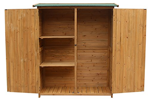 Merax-Wooden-Outdoor-Garden-Shed-with-Fir-Wood-Medium-Storage-Shed-Lockable-Storage-Unit-with-Double-Doors-Natural-Color-0-0