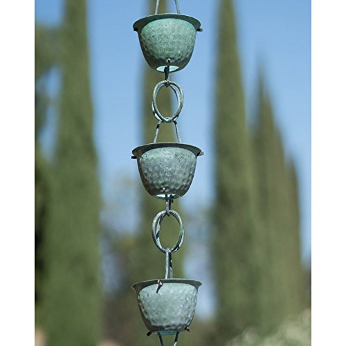 Monarch-85-ft-Copper-Hammer-Cup-Rain-Chain-with-Green-Patina-0