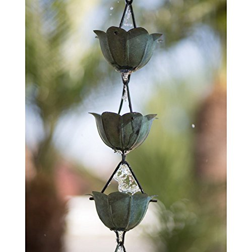 Monarch-85-ft-Copper-Lotus-Rain-Chain-with-Green-Patina-0