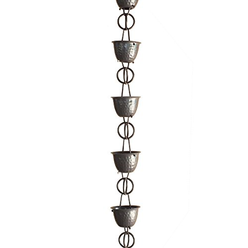 Monarch-Rainchain-Aluminum-Hammered-Cup-Rain-Chain-Musket-Brown-Color-with-Triangular-Gutter-Clip-85-0