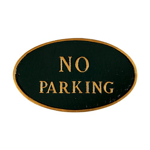 Montague-Metal-Products-SP-2S-HGG-No-Parking-Oval-Statement-Plaque-Standard-Hunter-Green-and-Gold-0