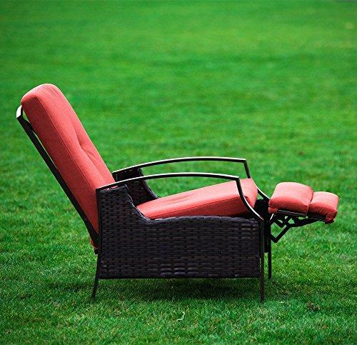 Naturefun Indoor Outdoor Wicker Adjustable Recliner Chair