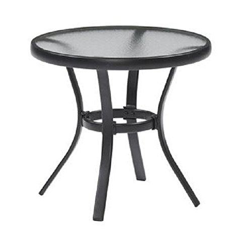 outdoor side table black steel small round tempered glass top patio yard or porch end table. Black Bedroom Furniture Sets. Home Design Ideas
