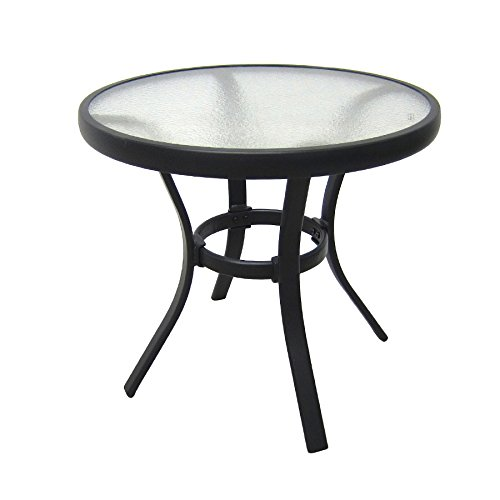 Outdoor-Side-Table-Black-Steel-Small-Round-Tempered- - Outdoor Side Table Black Steel Small Round Tempered Glass Top