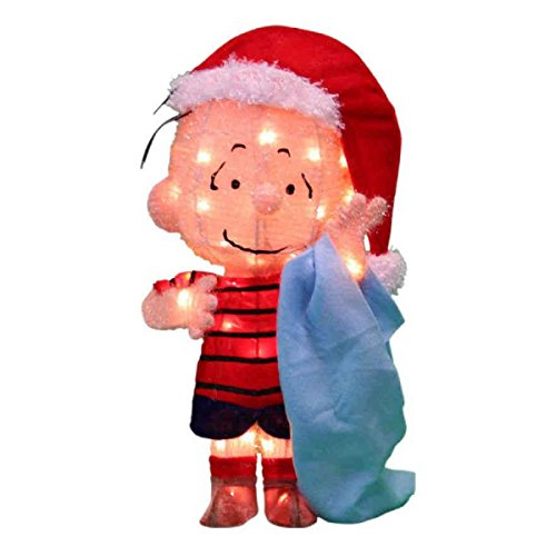 peanuts 3d 18 in pre lit tinsel linus with blanket outdoor christmas yard decoration