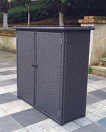 Outdoor Wicker Cabinet: Suncast Elements Outdoor 40-Inch Wide Cabinet And Trash