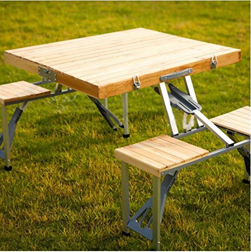 Plixio Portable Folding Wooden Picnic Table With 4 Bench