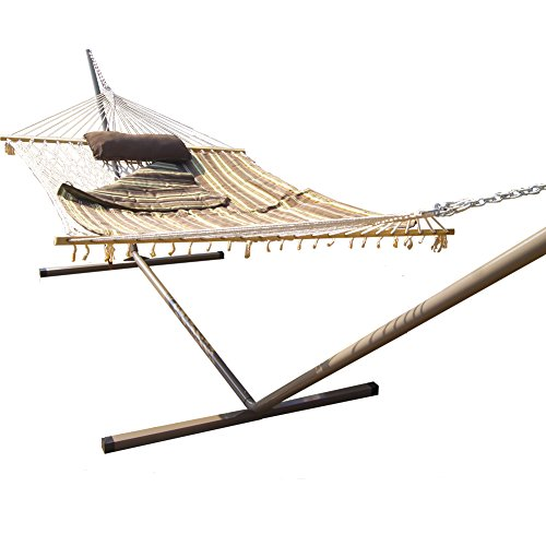 Prime-Garden-15FT-4-Piece-Heritage-Hammock-Essential-PackageAccommodate-2-person-100-Cotton-Rope-Polyester-Pad-And-Pillow-ComboCoated-Steel-FrameRust-Resistant-Weight-limit-450-lb-0