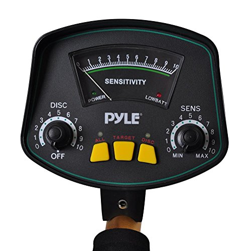 Pyle-PHMD53-Treasure-Hunting-Metal-Detector-with-Waterproof-Submergible-Search-Coil-10-Level-Discrimination-Built-in-Speakers-and-Headphone-Jack-0-0