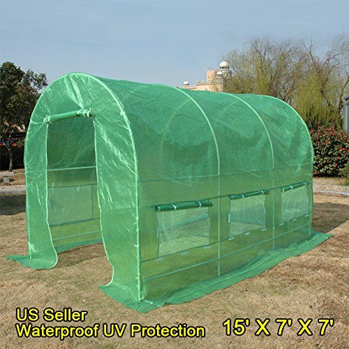 Outdoor Vent Covers >> Quictent KOREA Reinforced PE Cover Greenhouse 15'x7'x7′ Arch LARGE Walk in Green Garden Hot ...