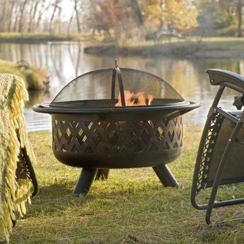 Red-Ember-Bronze-Crossweave-Firebowl-Fire-Pit-with-FREE-Grill-Grate-and-Cover-LR32-CGG-0