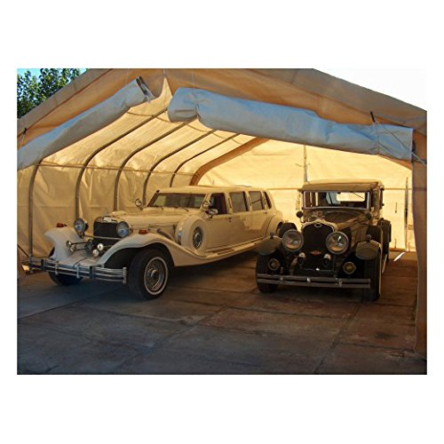 Rhino Shelter Two Car Garage 22x24x12 House Style Tan