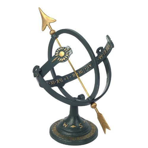Rome-1339-Cast-Iron-Armillary-Sundial-Iron-with-Brass-Arrow-17-Inch-Height-by-11-Inch-Wide-Diameter-0