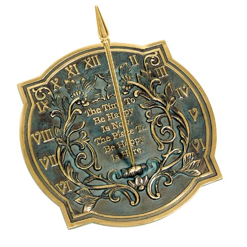 Rome-2303-Happiness-Sundial-Solid-Brass-with-Verdigris-Highlights-10-Inch-Diameter-0