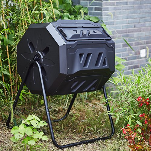 Rotary-Garden-Tumbler-Composter-Easy-to-turn-Barrel-Space-Efficient-Black-Color-160L-37-gallon-Capacity-With-2-Compartments-by-ZeLi-0-1