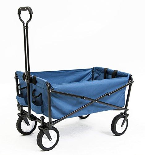 Seina-Collapsible-Folding-Utility-Wagon-Garden-Cart-Shopping-Beach-Outdoors-Blue-0
