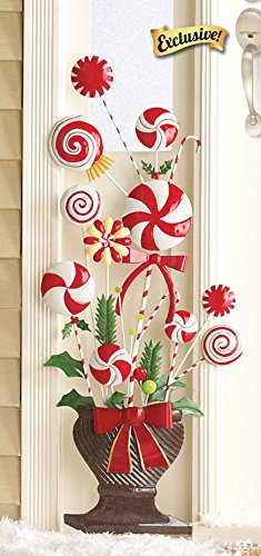 Set-of-2-Whimsical-Peppermint-Candy-Lollipop-Candy-Cane-Christmas-Tree-Shape-Topiary-Urn-Planter-Flank-Doorway-Entrance-Hang-on-Wall-or-Stake-in-Yard-Holiday-Decoration-0-0