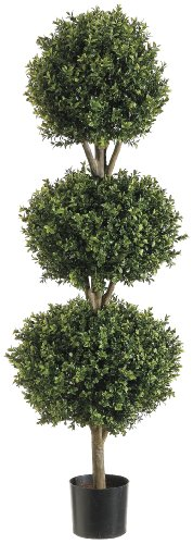 Silk-Decor-4-Feet-Tri-Ball-Boxwood-Topiary-Plant-GreenTwo-tone-0